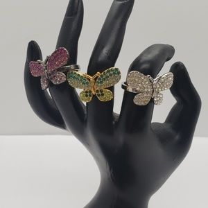 Butterfly Mutli Color Crystal Statment Rings